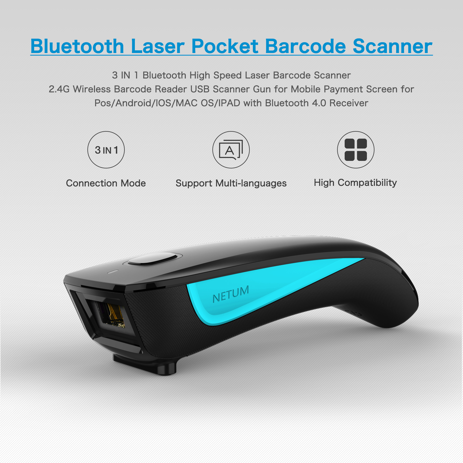 1D Bluetooth Barcode Scanner Support IOS