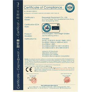 CE Certificate of Checkweigher and Weight Grader
