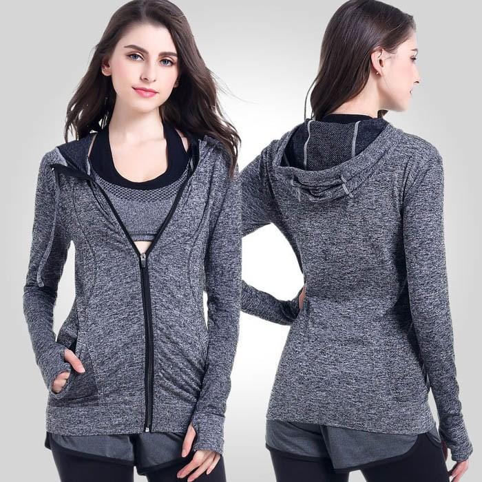 النساء تشغيل اليوغا سليم أوف حماية بلوزات مع اثنين الجانب جيب سترة معطف