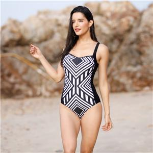 Splice black and white stripe One-Piece racerback Swimsuit for women