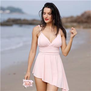 Pink SwimDress Asymmetrical hem for women