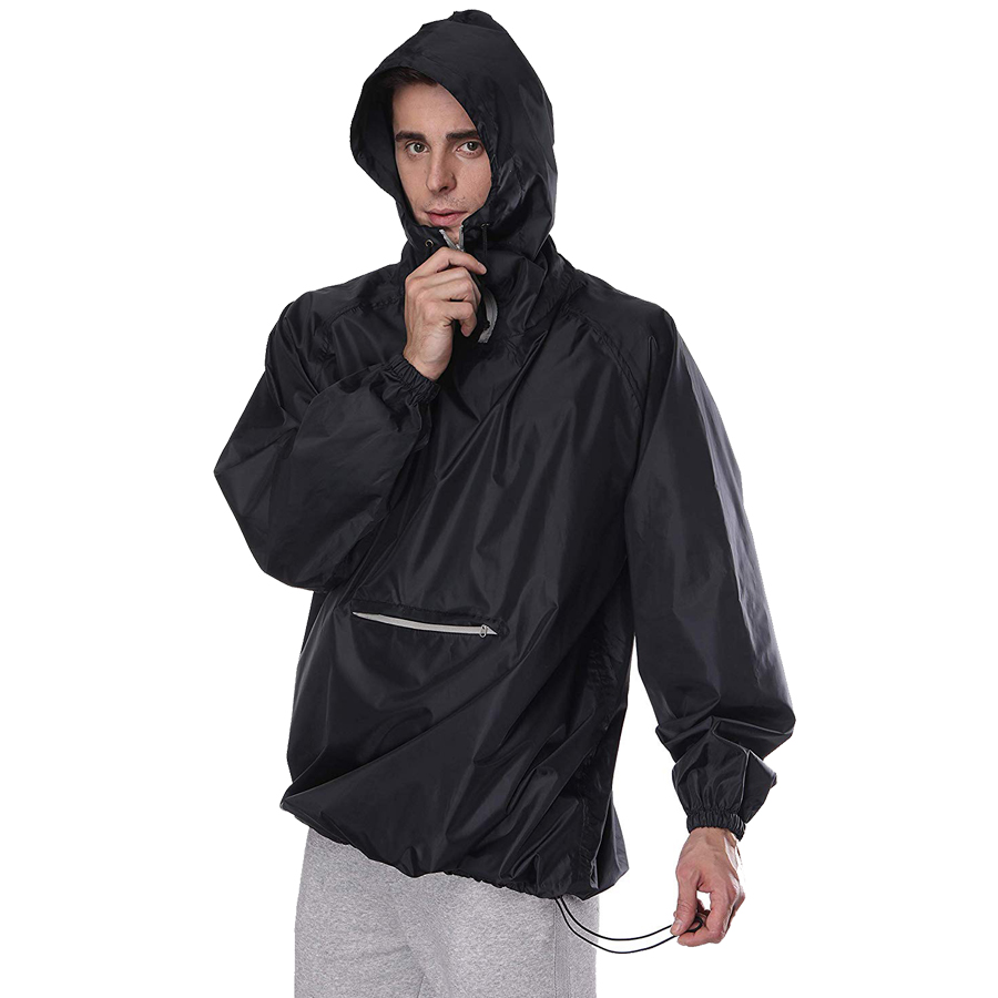 SWISSWELL Rain Coat Poncho Men Packable Outdoor Waterproof Hideaway Hooded Reflective Windbreaker