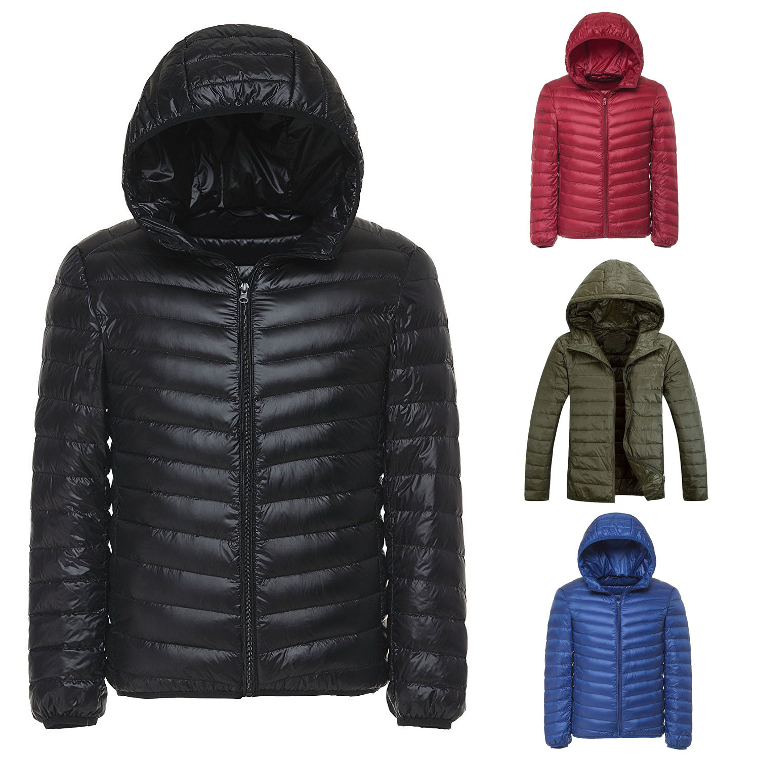 Men Ultralight duck down jacket hood