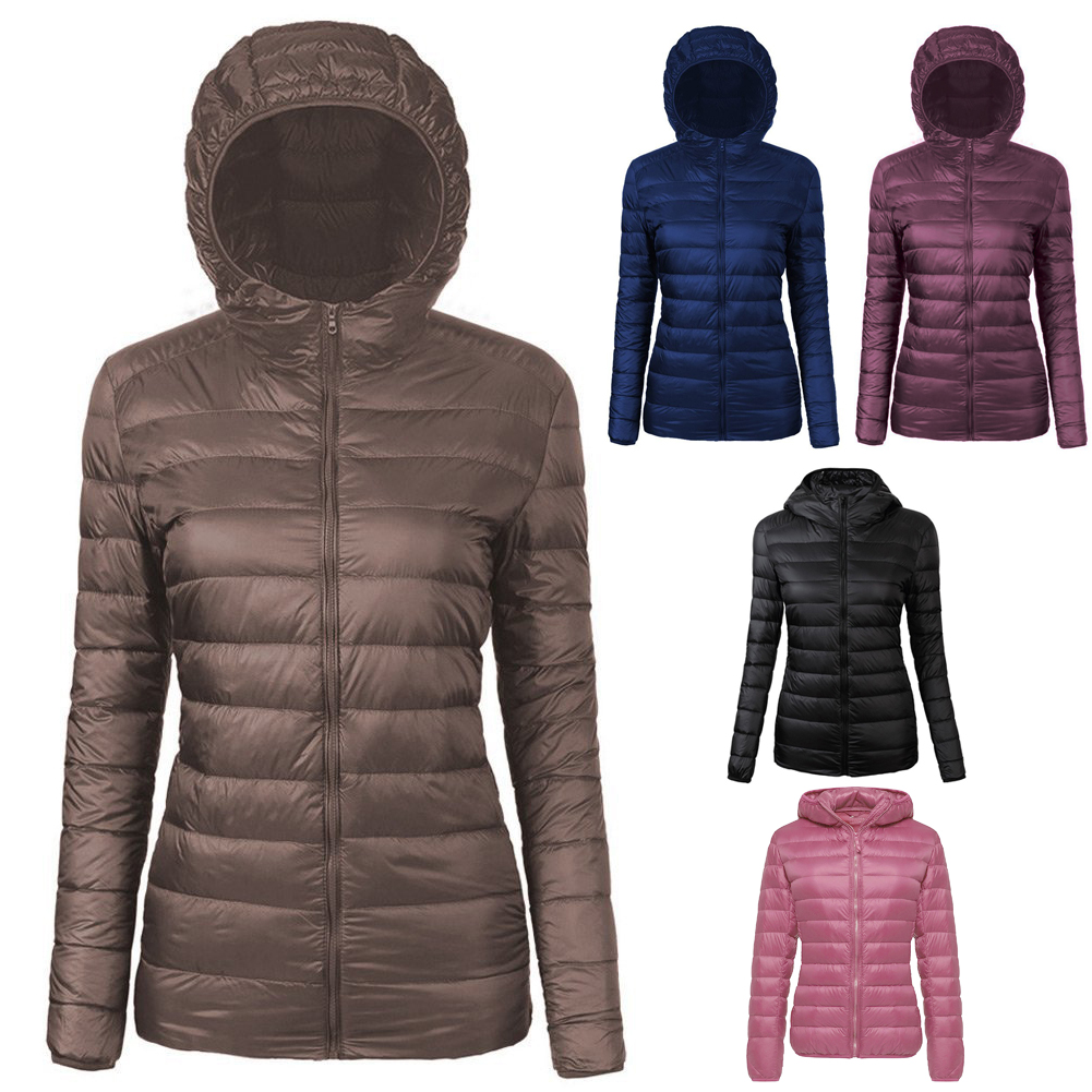 Ultralight duck down jacket women hooded