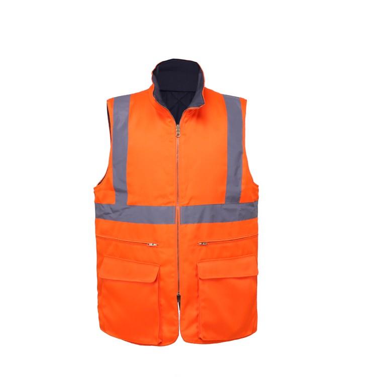 Reversible Safety Vest High Quality Workwear Vest Pockets Waterproof Fishing Vest