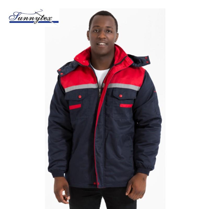 custom mens windbreak denim puffer hoody winter jacket