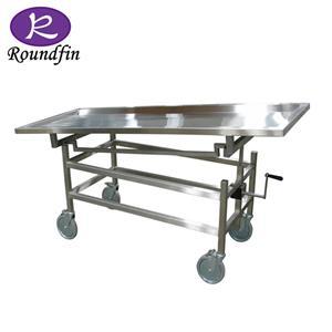 Chariot de dissection mortuaire Table mortuaire en acier inoxydable