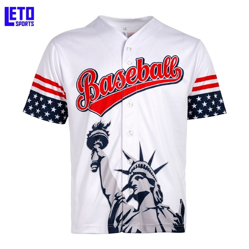 American Flag Blank Leather Dri Fit Wholesale Custom Cheap Baseball Jersey