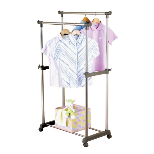 Adjustable Double Pole Clothes Racks