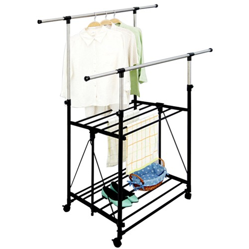 Foldable Double Pole Clothes Racks