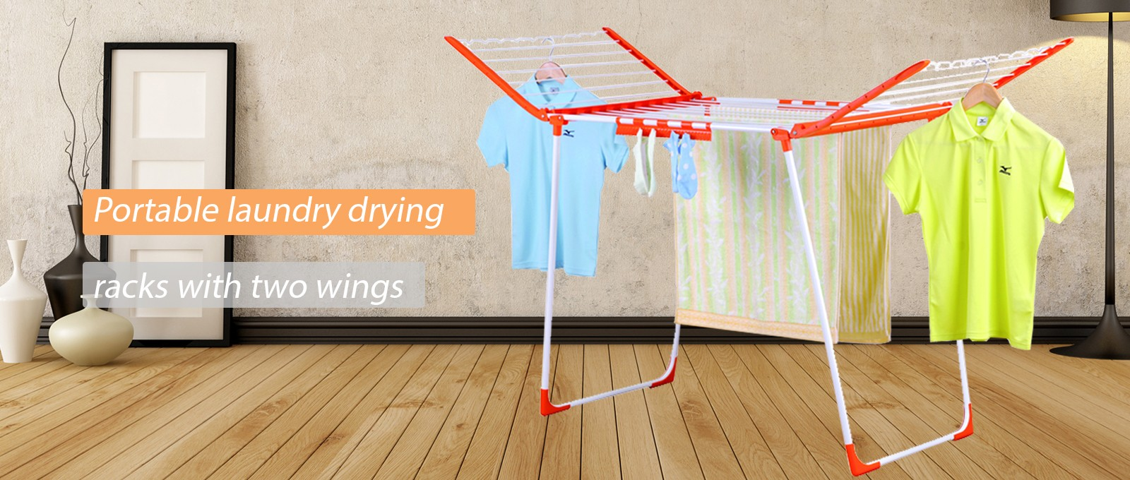 Portable laundry drying racks with two wings