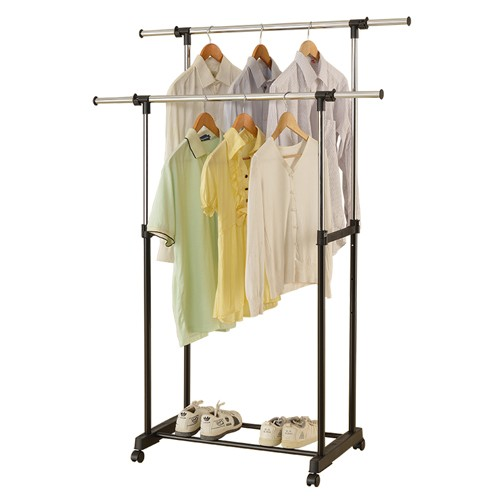 Rolling Double Pole Clothes Racks