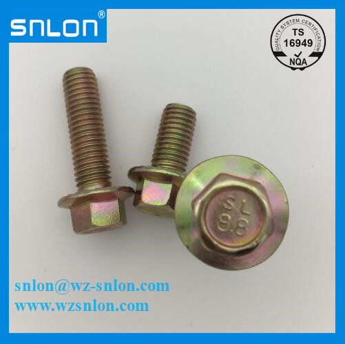 Hexagon Head Flange Bolt Yellow Zinc Plated Gr8.8