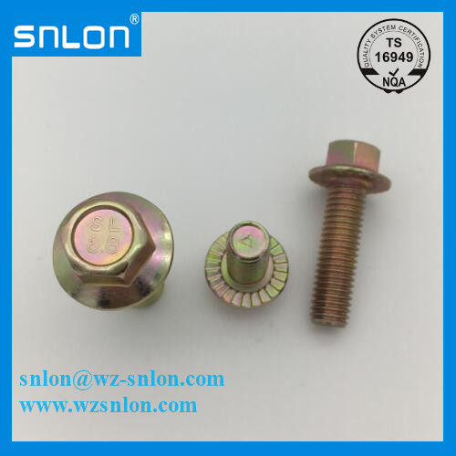 Hexagon Flange Bolt With Tooth Yellow Zinc Plated Gr8.8