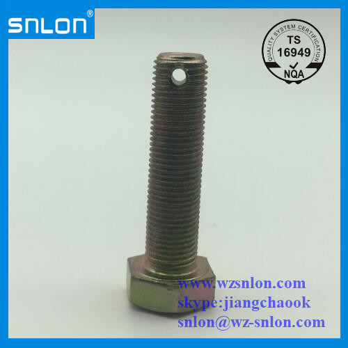 Hex Bolt With A Hole On Thread And On Head