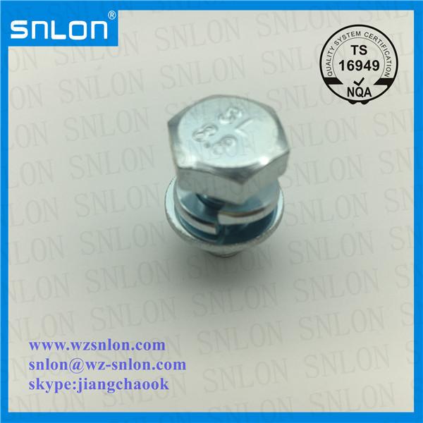 Tornillos de combinación de cabeza hexagonal chapados en zinc blanco