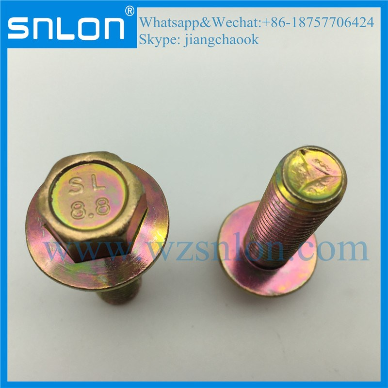 Yellow Zinc Coating Hex Head Bolt With Flange