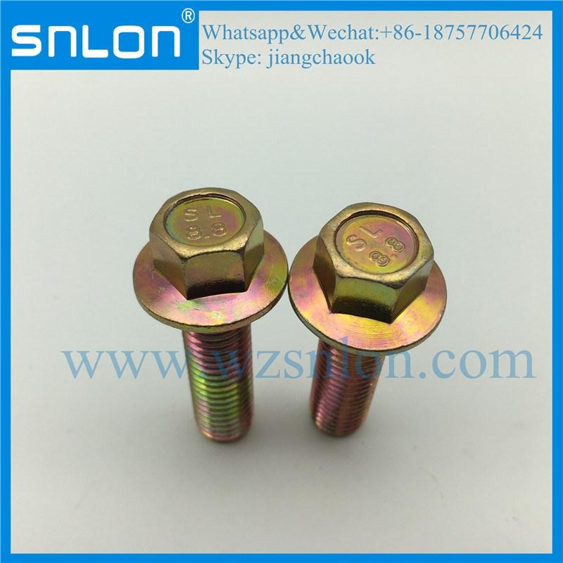 Perno de cabeza hexagonal de zinc dorado con brida