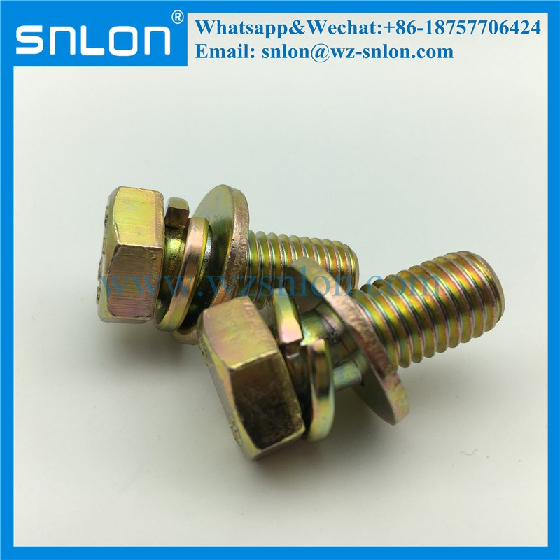 Galvanized Steel/Zinc Plated Grade8.8 Assembled Screw With Spring & Flat Washer