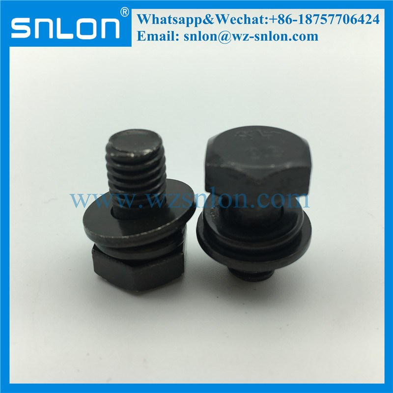 Stainless Steel Assembled Combined Hex Head Screw With Spring And Flat Washer