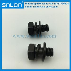 Vite assemblata in acciaio zincato nero con molla e rondella piana (din6900)