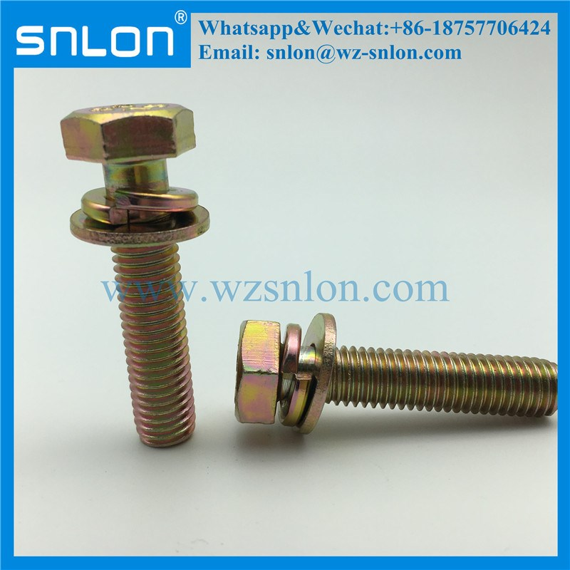 Hex Head Screw With Spring Washer Flat Washers Assembled Sems Screw