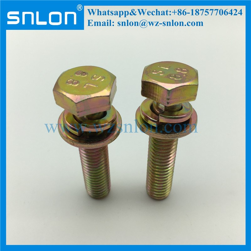 High Tensile Hex Head Screw With Spring Washer Flat Washers Assembled Sems Screw
