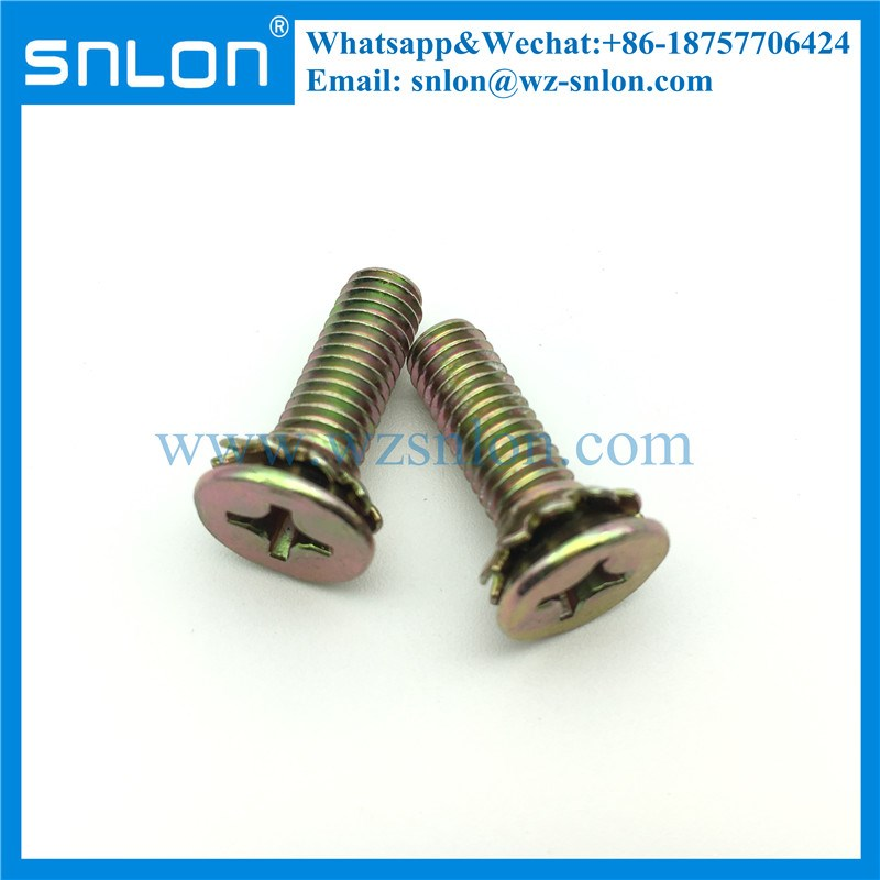 Csk Head Cross Recess Screw with Serrated Lock Washer