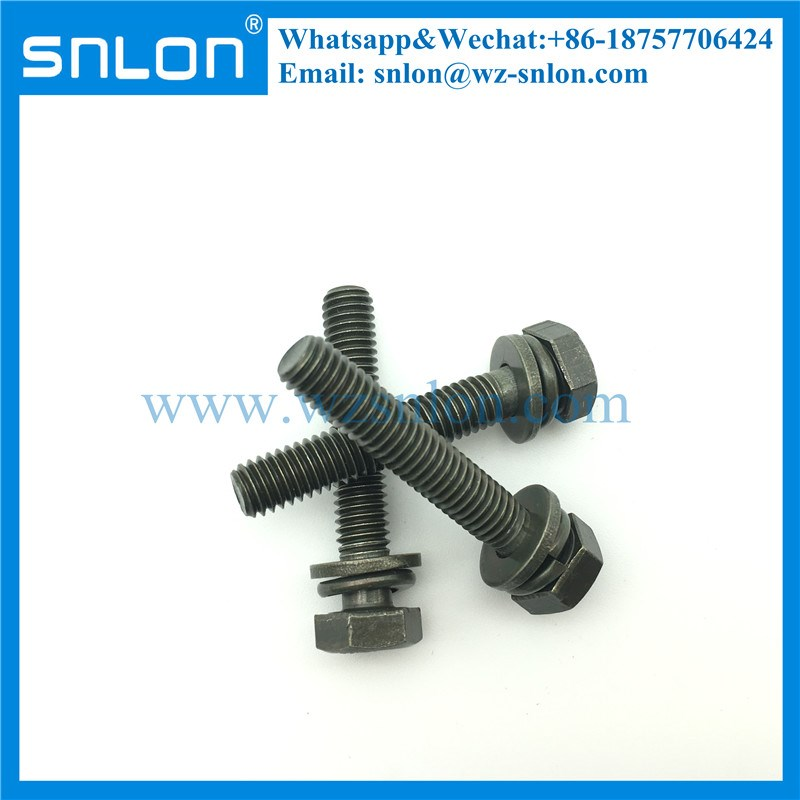 Yellow Zinc Hex Head Screw with flat washer and spring washer