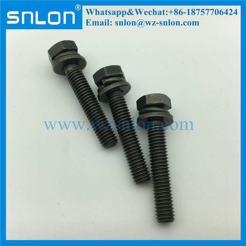 Zinc Plated Three Parts Hex Head Combination Washer Machine Screw