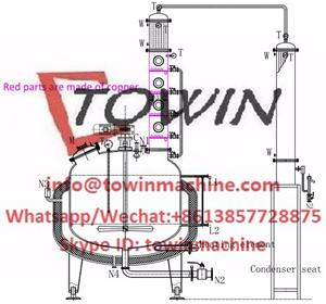 400gallon boiler with agitator with copper distillation column