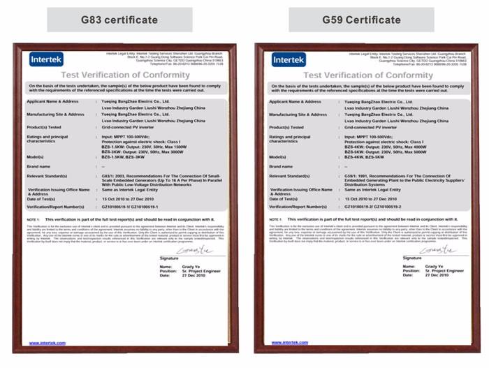 G83 & G59 CERTIFICATE