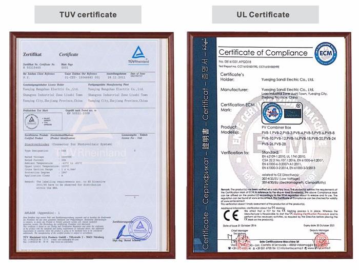 TUV & UL Certificate