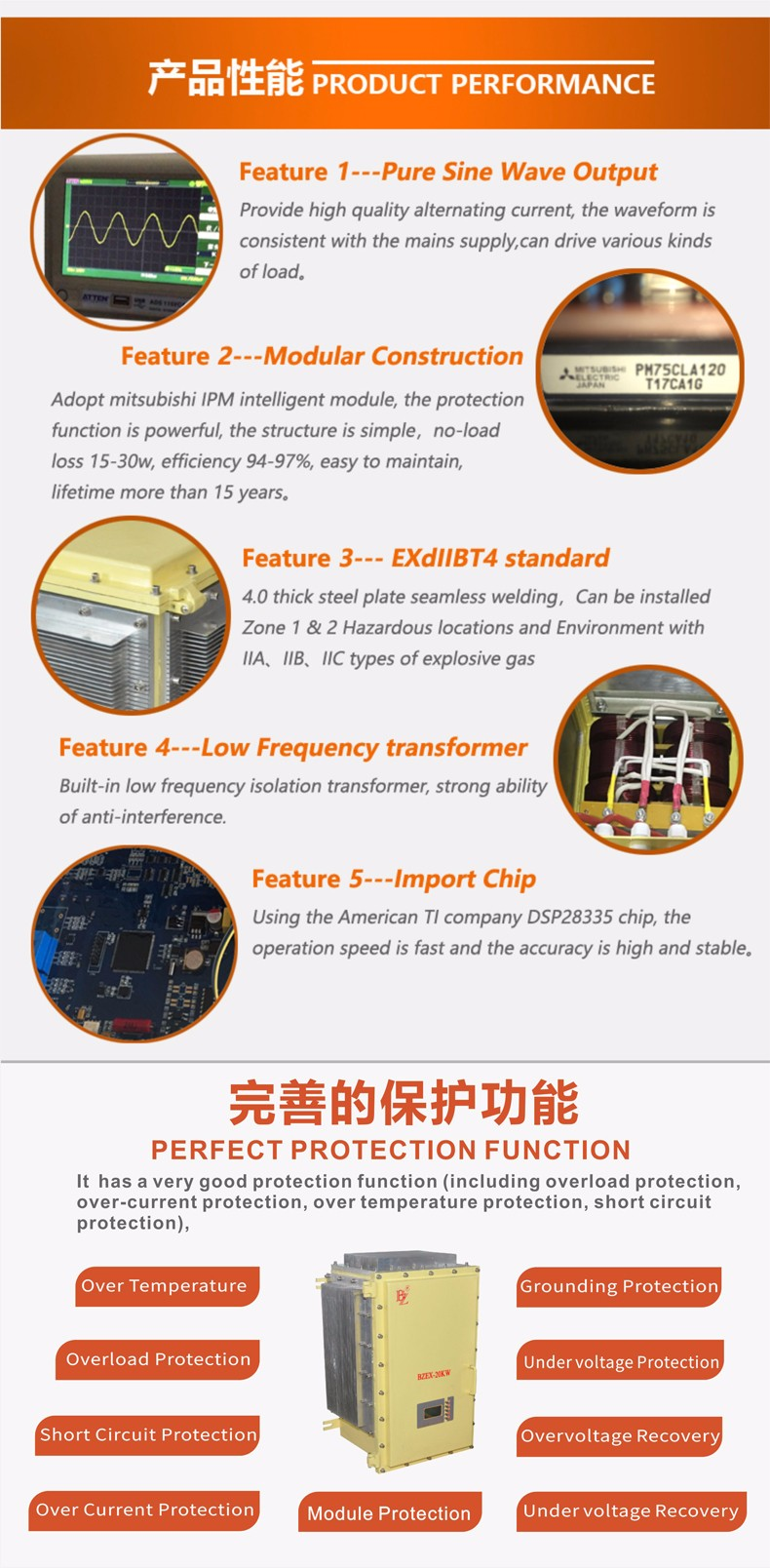 Low frequency sine wave inverter for Explosive gas atmosphere