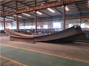 Bending process for arc shaped steel beam
