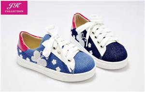 Girls Jeans Embroidery Lace-up Sneakers