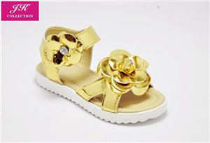 Girls Floral Metalic Wedge Sandals