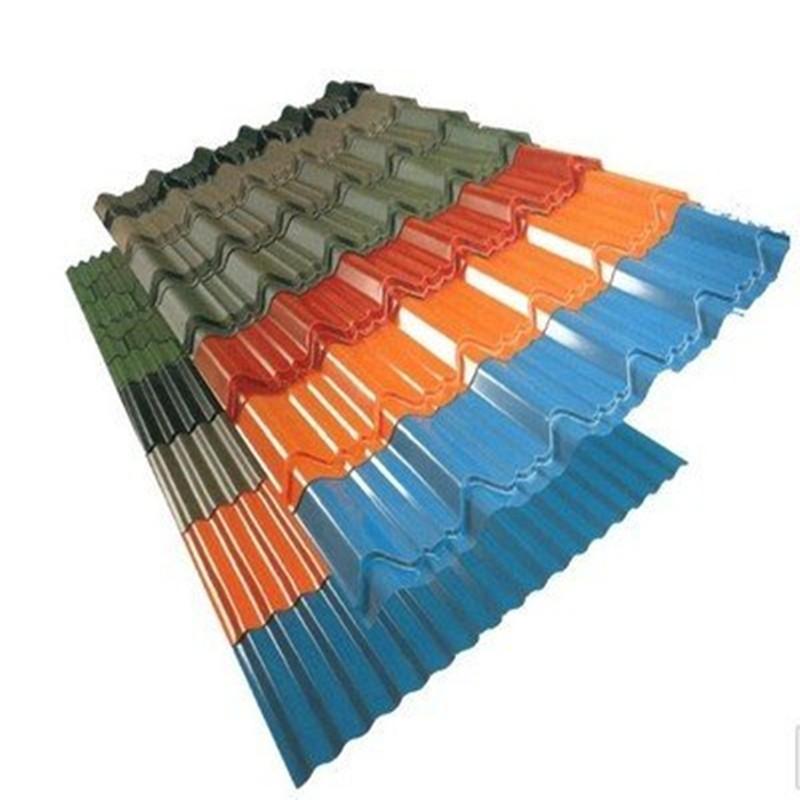 La tuile de toiture en métal de zinc enduite par couleur de tôle d'acier de toiture ondulée légère de PE PVDF