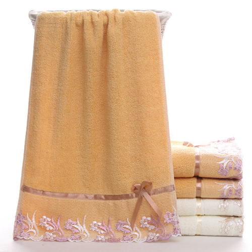 100% cotton unique lace bath towel