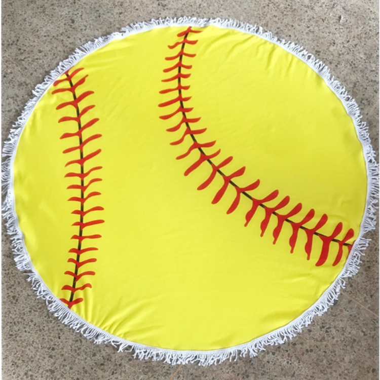 Large round baseball beach towel