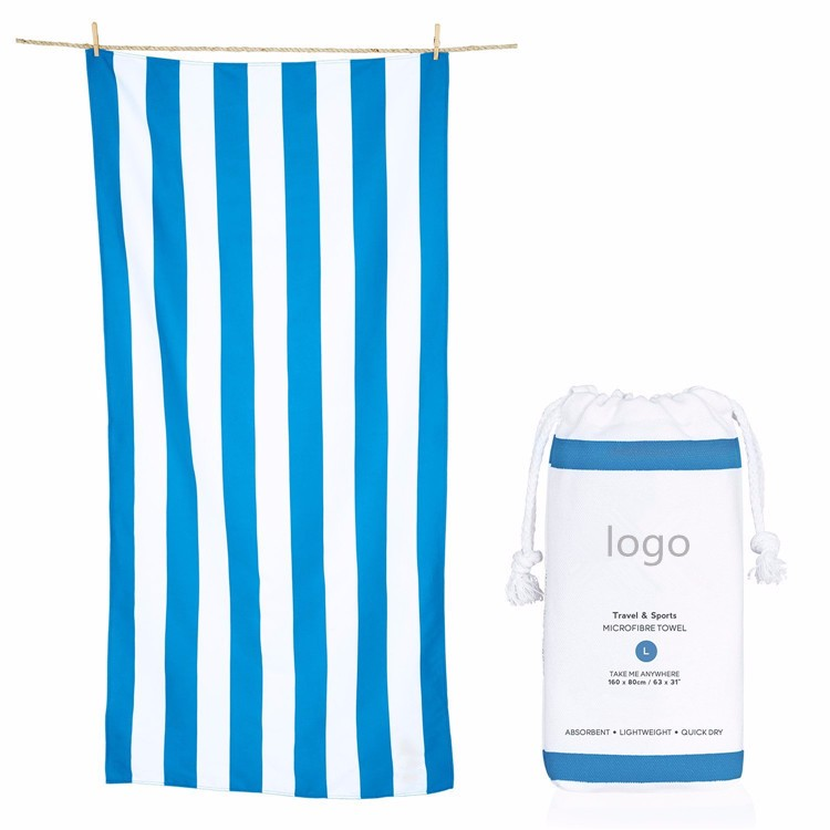 Blue White Stripe Beach Towel with pockets