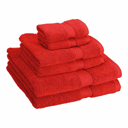 bright red bath towels