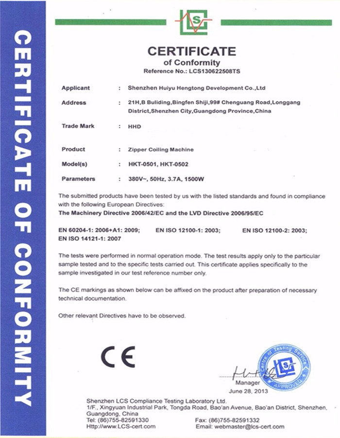 Nylon Zipper Coiling Machine CE Certificate