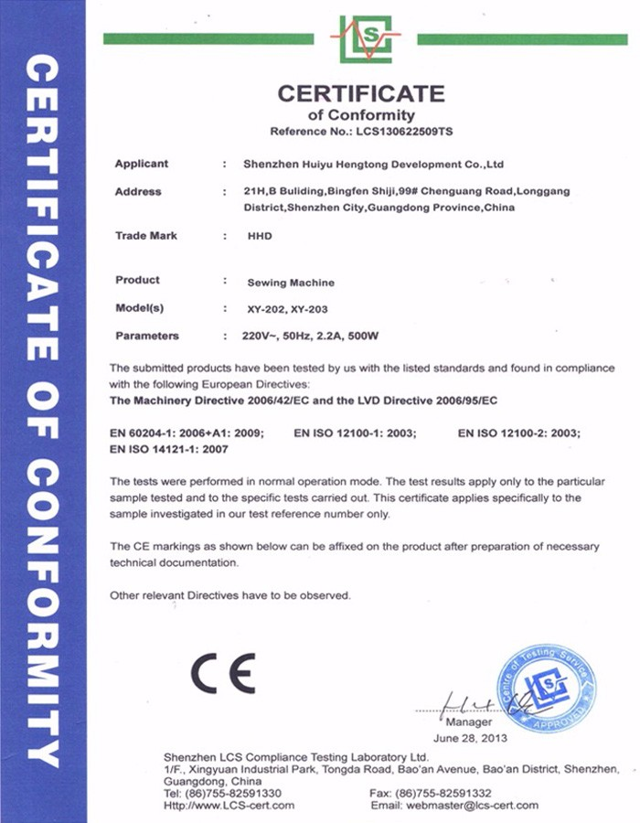Nylon Zipper Sewing Machine CE Certificate
