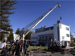 The technique of using the camera crane of film and television