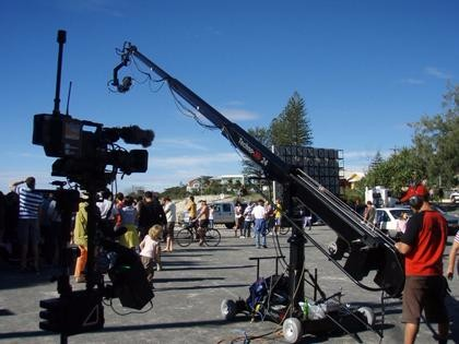 The use of the camera crane in the film