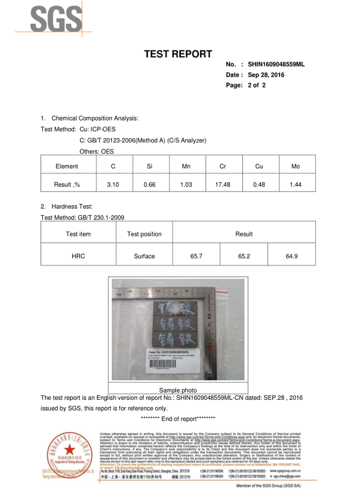 SGS Test-Bimetallic white iron wear plate