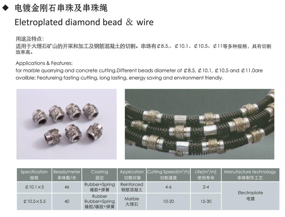 Eletroplated diamond bead & wire