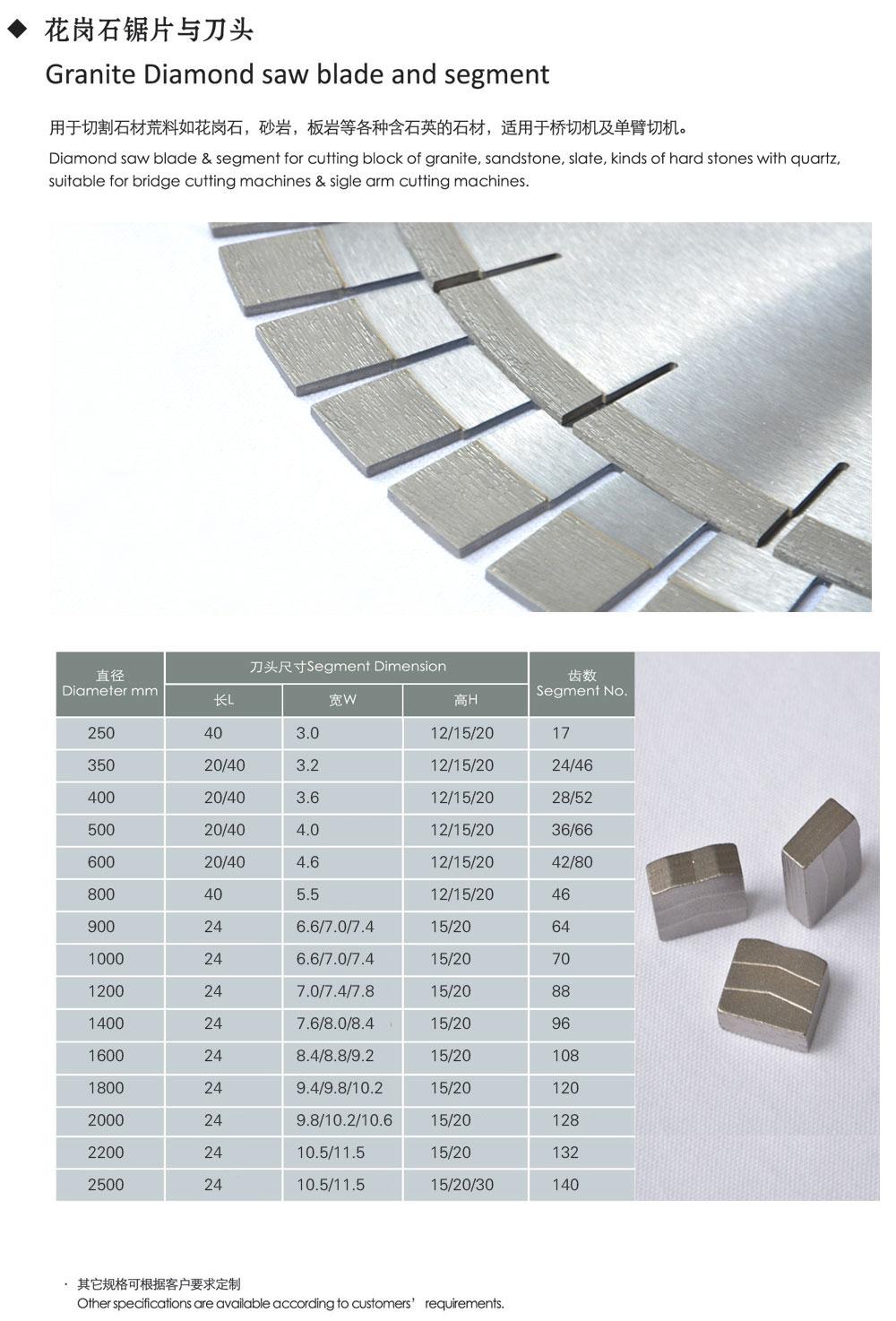 Granite Diamond saw blade and segment