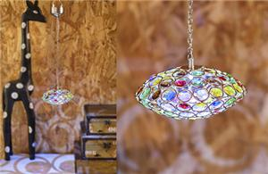 Disc shaped color crystal chandelier
